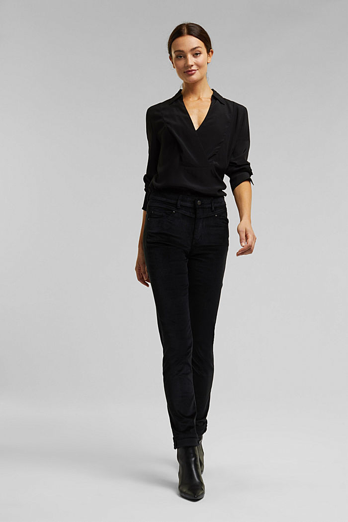 Stretch corduroy trousers, BLACK, detail image number 1