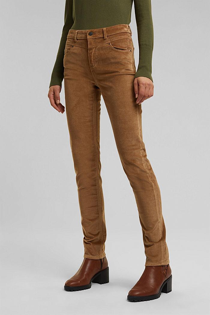Pantalon stretch en velours côtelé, CAMEL, detail image number 0
