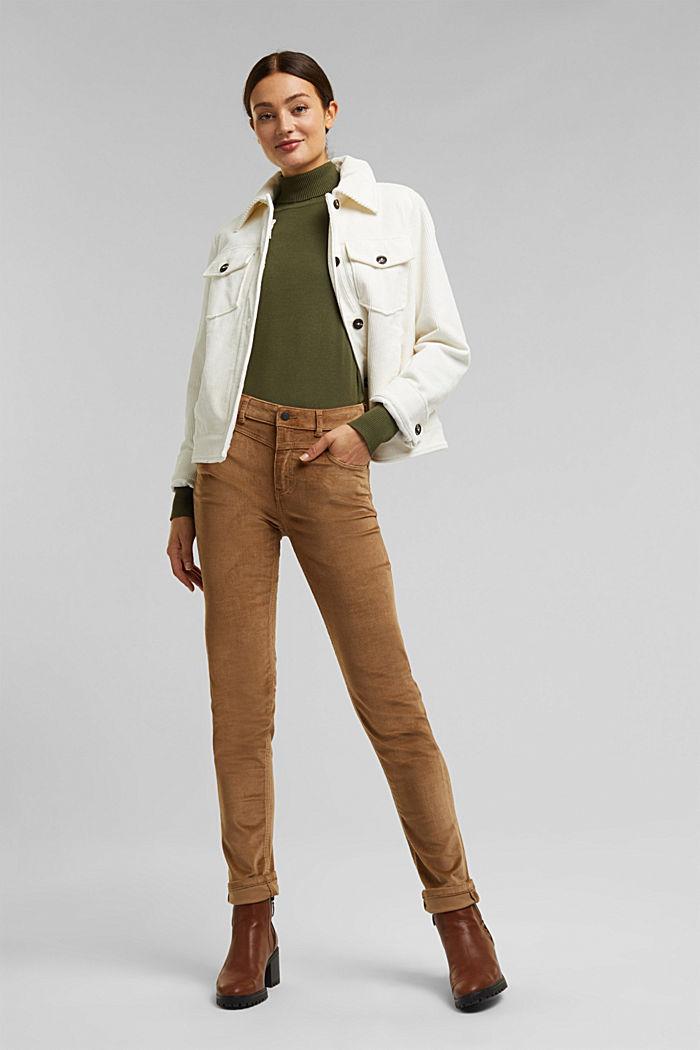 Pantalon stretch en velours côtelé, CAMEL, detail image number 1
