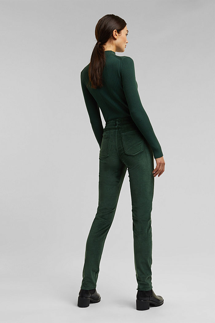 Stretch corduroy trousers, DARK GREEN, detail image number 3