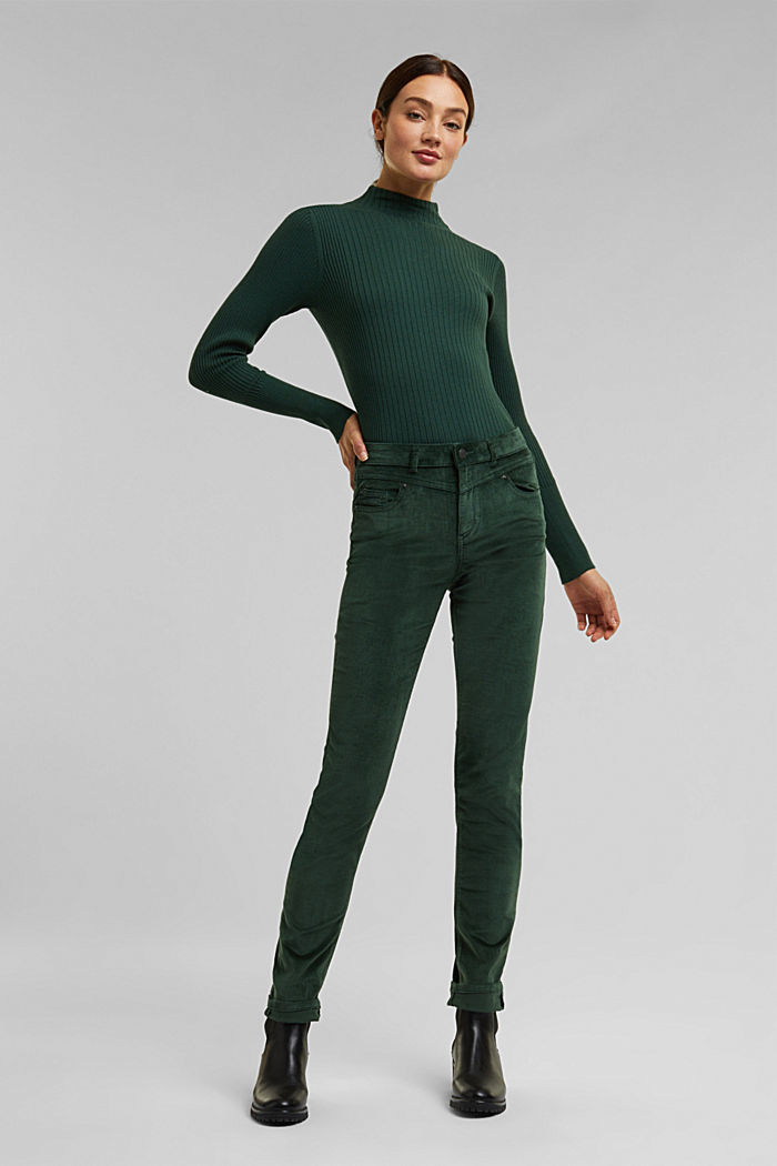Stretch corduroy trousers, DARK GREEN, detail image number 1