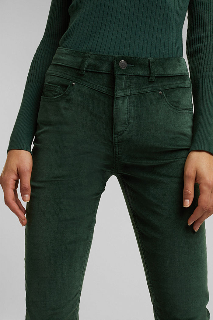Stretch corduroy trousers, DARK GREEN, detail image number 2