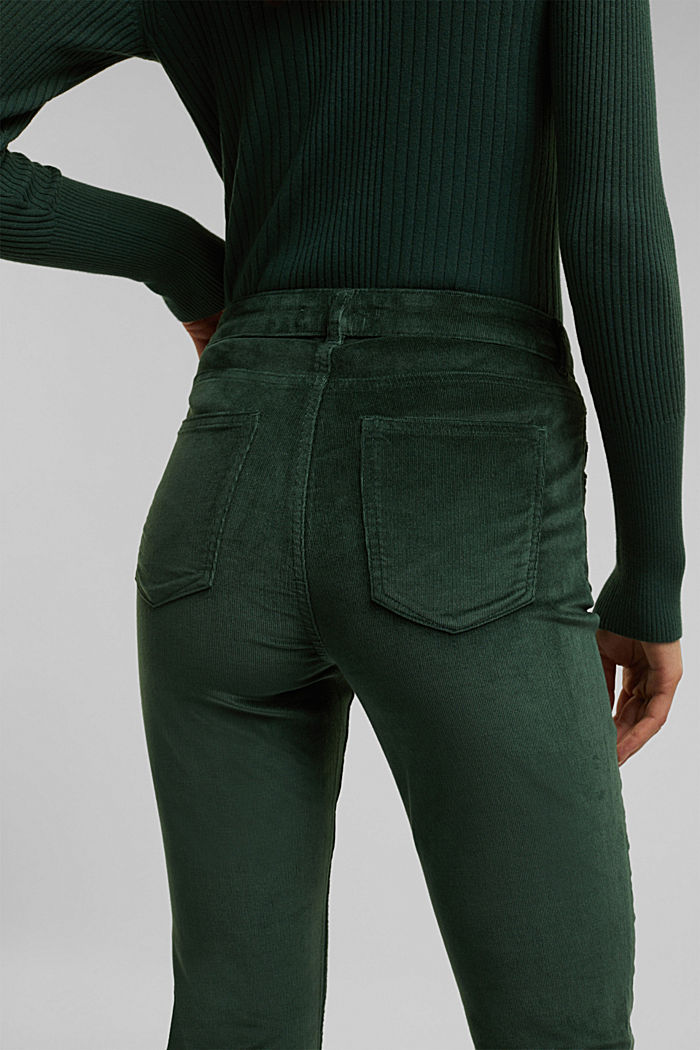 Stretch corduroy trousers, DARK GREEN, detail image number 5