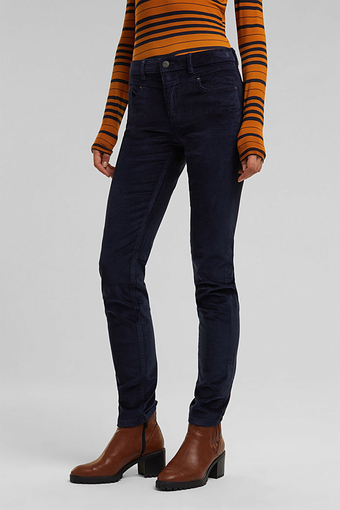 Stretch corduroy trousers, NAVY, detail image number 0