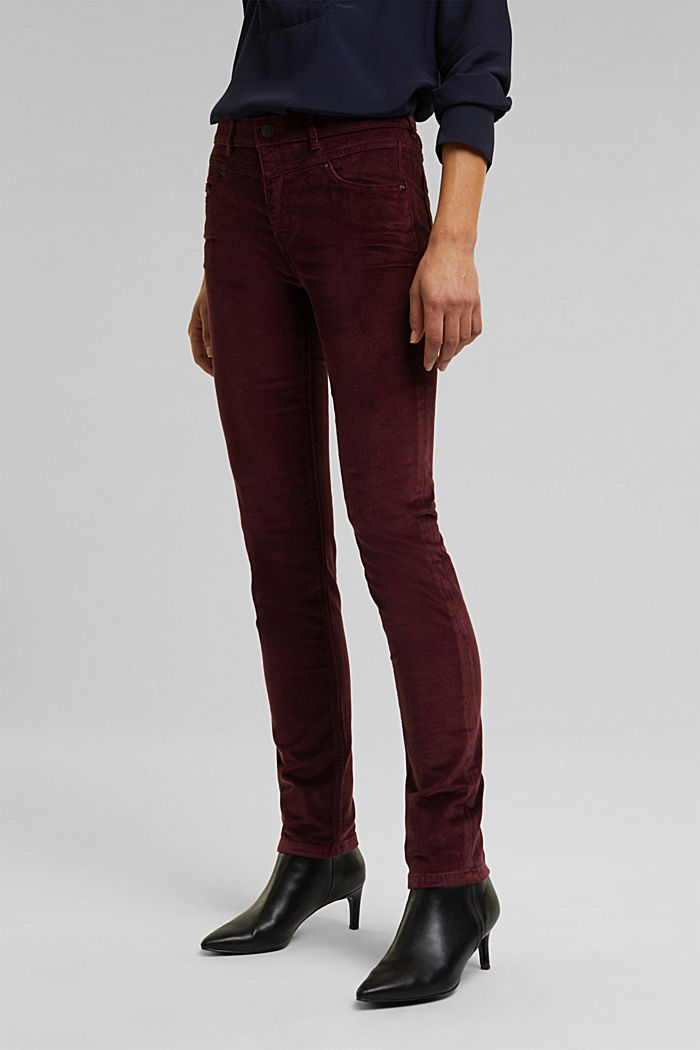 Stretch corduroy trousers, BORDEAUX RED, detail image number 0