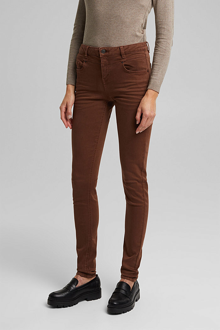 Skinny trousers with a shaping effect, BROWN, detail image number 0