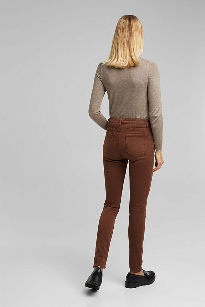 Skinny trousers with a shaping effect, BROWN, detail image number 3