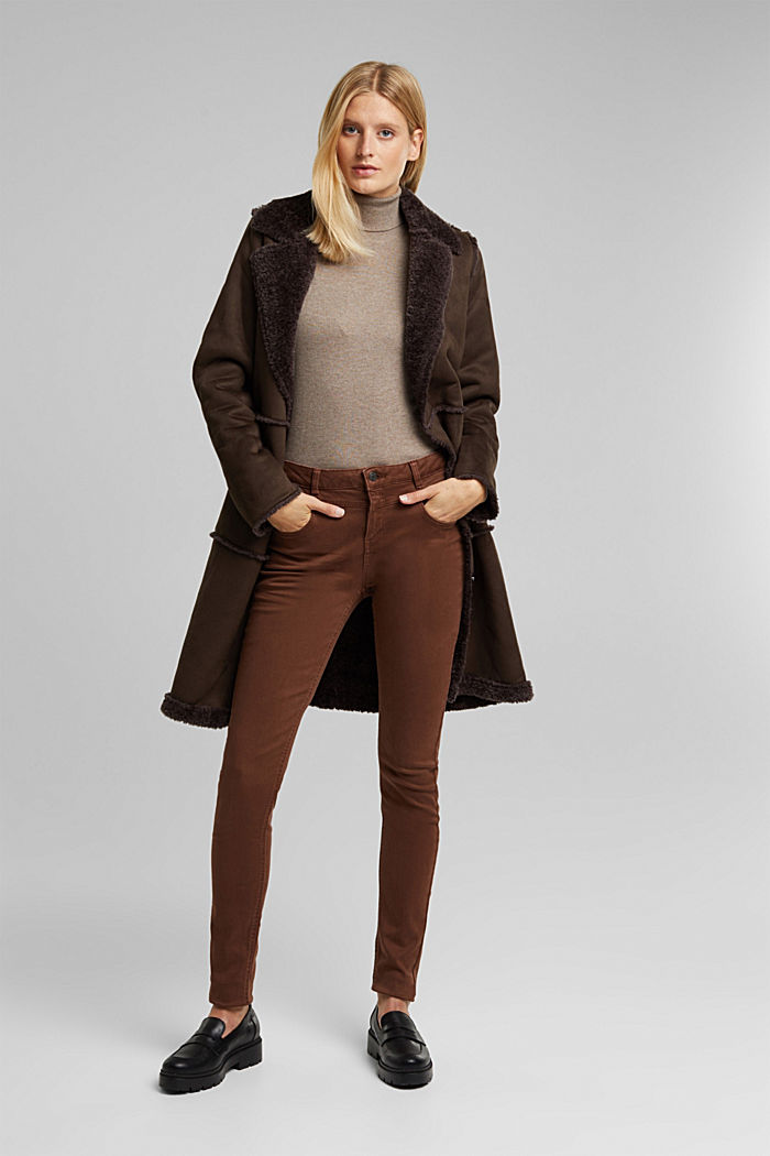 Skinny trousers with a shaping effect, BROWN, detail image number 1