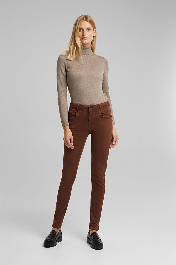 Skinny trousers with a shaping effect, BROWN, detail image number 6