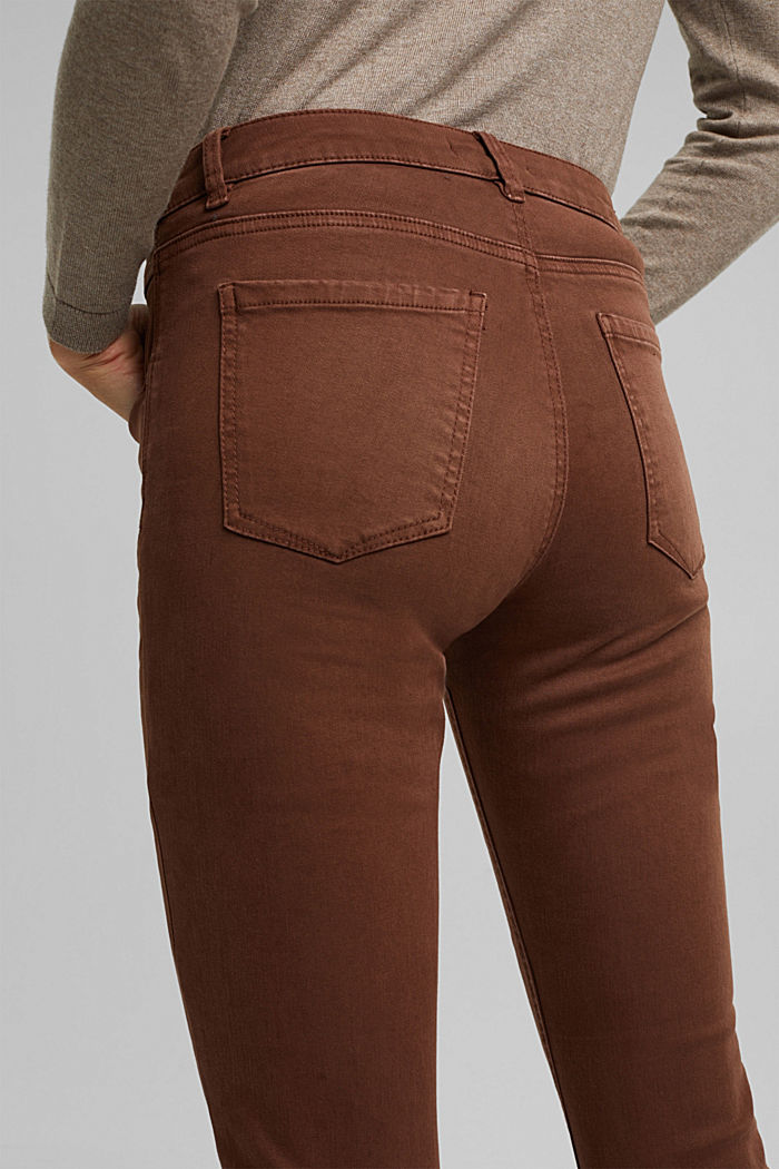 Skinny trousers with a shaping effect, BROWN, detail image number 5