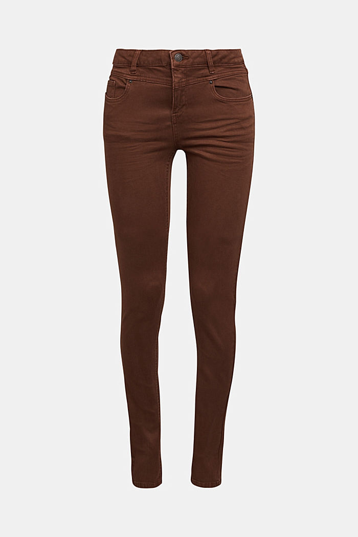 Skinny trousers with a shaping effect, BROWN, detail image number 7