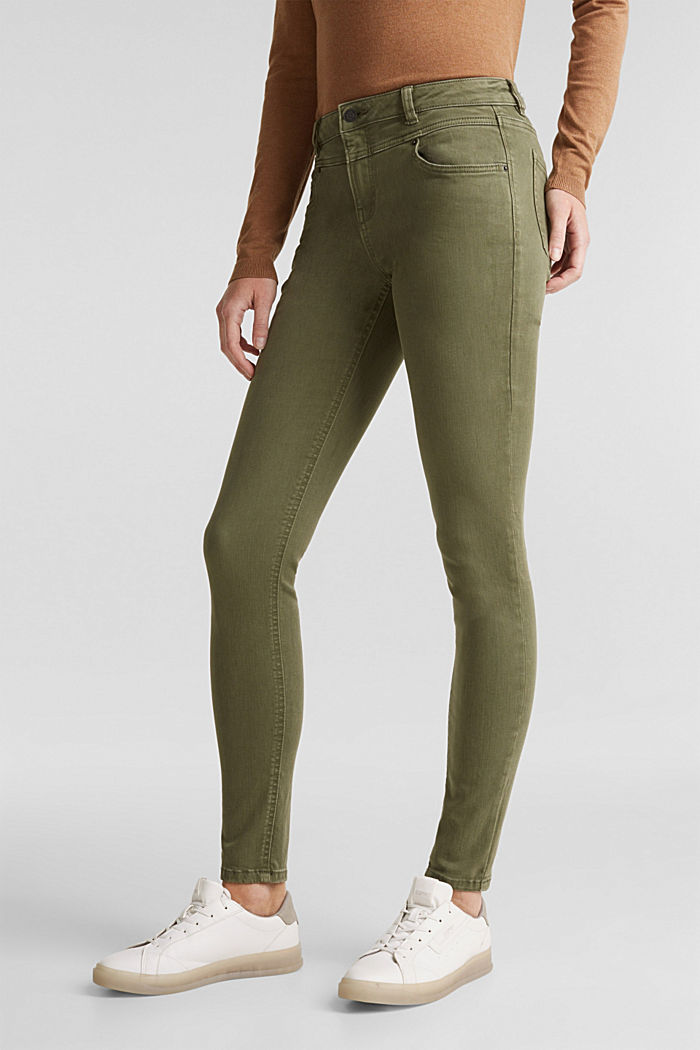 Skinny trousers with a shaping effect, KHAKI GREEN, detail image number 0