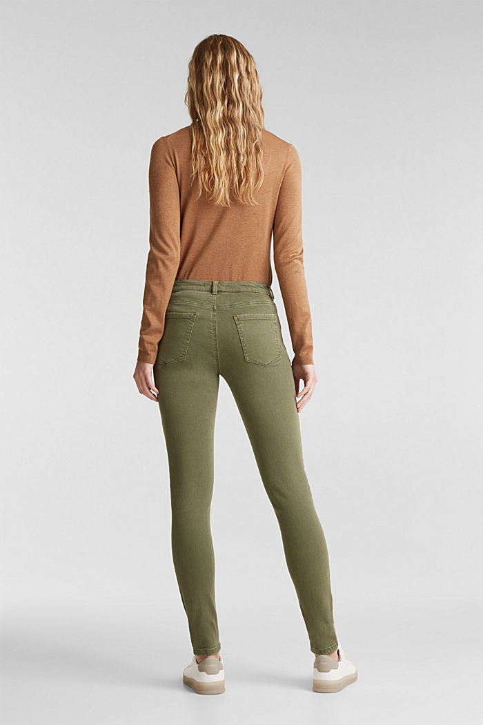 Skinny trousers with a shaping effect, KHAKI GREEN, detail image number 3
