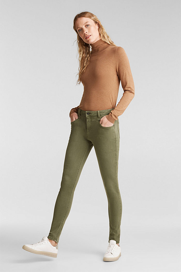 Skinny trousers with a shaping effect, KHAKI GREEN, detail image number 6