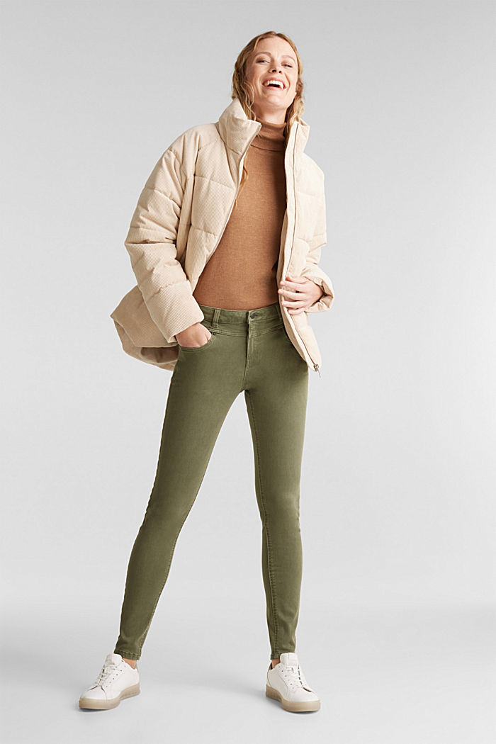 Skinny trousers with a shaping effect, KHAKI GREEN, detail image number 1