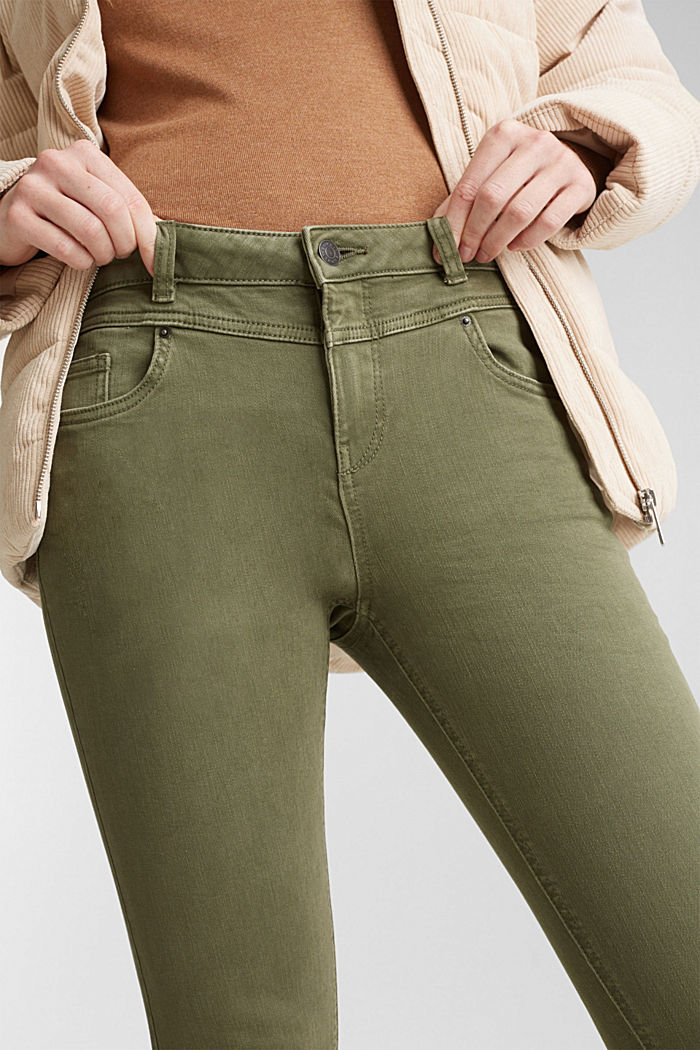 Skinny trousers with a shaping effect, KHAKI GREEN, detail image number 2