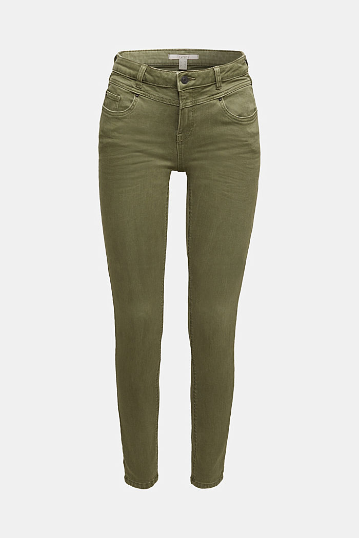Skinny trousers with a shaping effect, KHAKI GREEN, detail image number 7