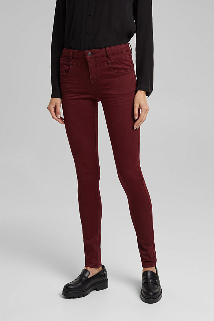 Skinny trousers with a shaping effect, BORDEAUX RED, detail image number 0