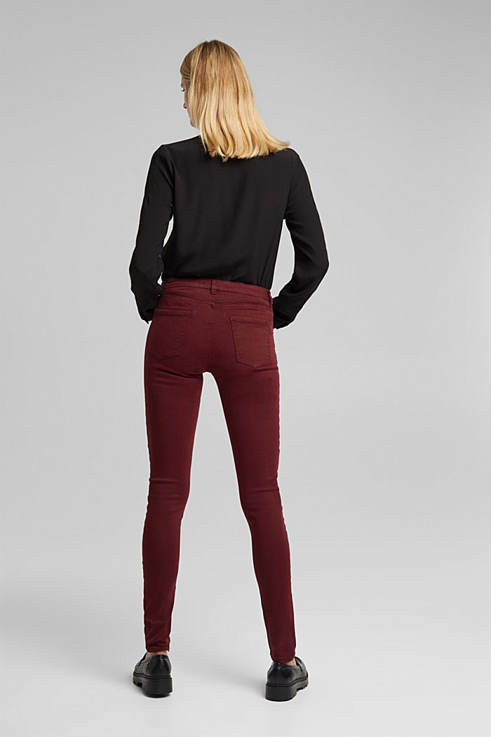 Skinny trousers with a shaping effect, BORDEAUX RED, detail image number 3