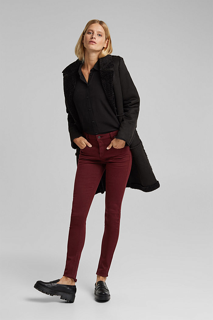 Skinny trousers with a shaping effect, BORDEAUX RED, detail image number 1