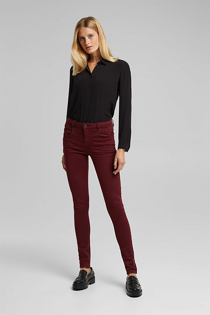 Skinny trousers with a shaping effect, BORDEAUX RED, detail image number 6