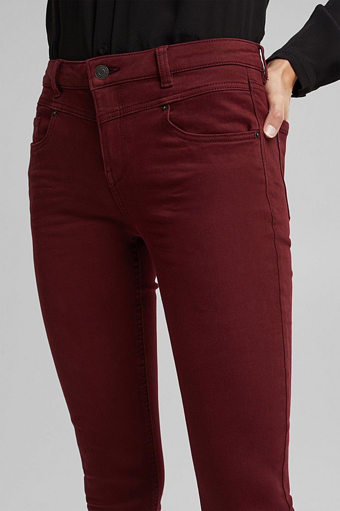Skinny trousers with a shaping effect, BORDEAUX RED, detail image number 2