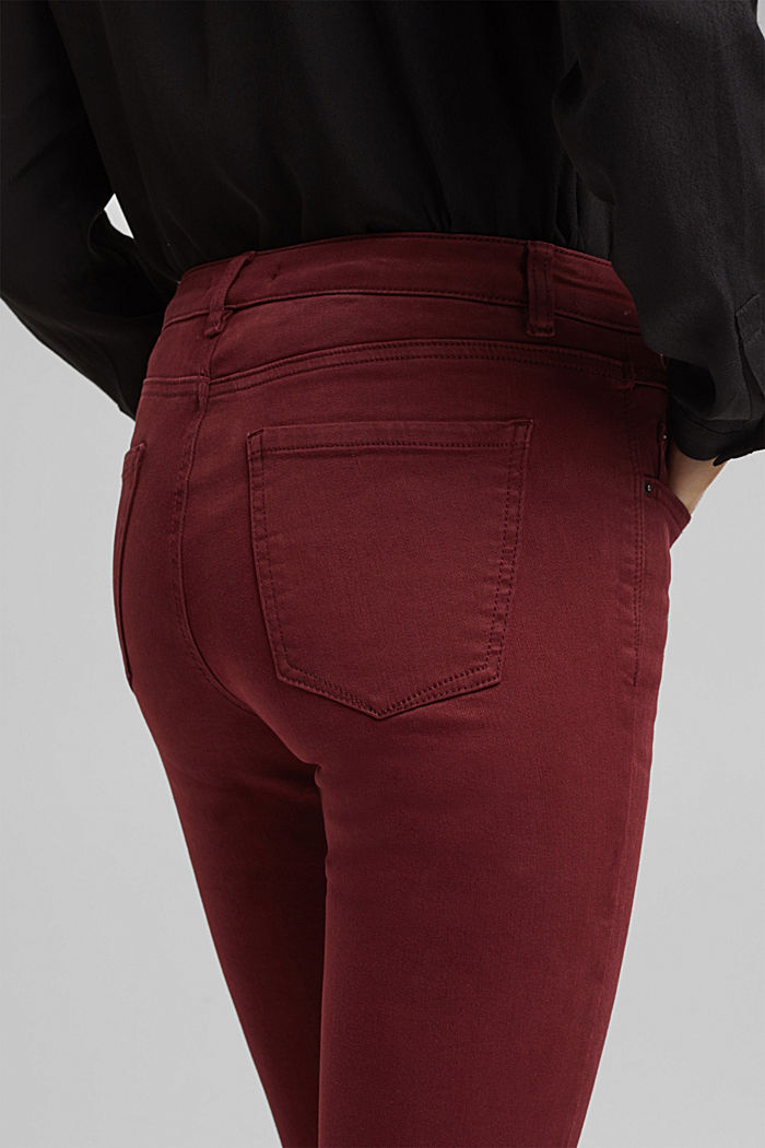 Skinny trousers with a shaping effect, BORDEAUX RED, detail image number 5