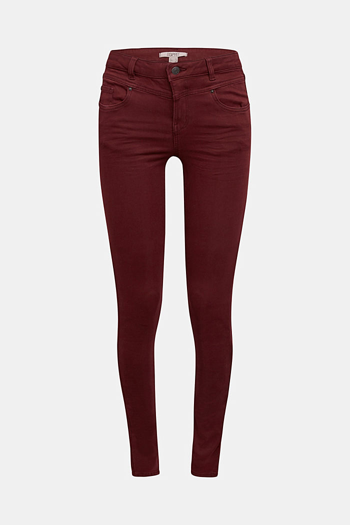 Skinny trousers with a shaping effect, BORDEAUX RED, detail image number 7