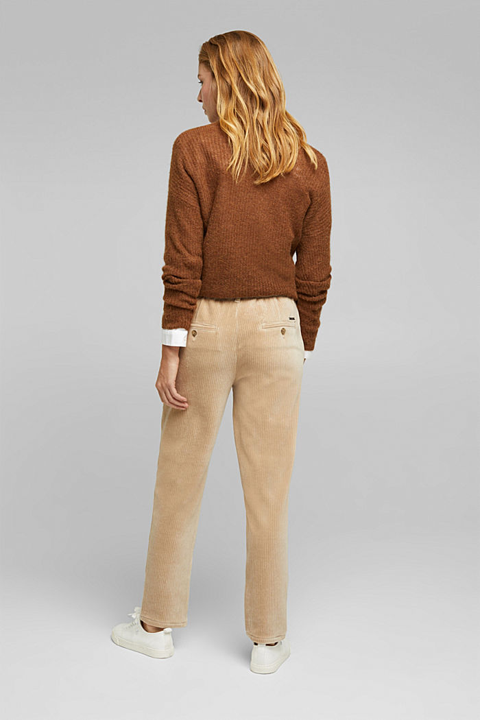 Corduroy trousers made from blended cotton, CREAM BEIGE, detail image number 3