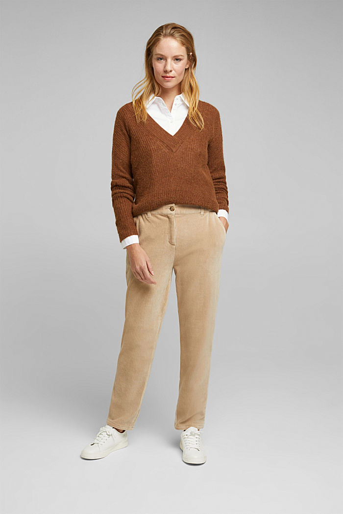Corduroy trousers made from blended cotton, CREAM BEIGE, detail image number 1
