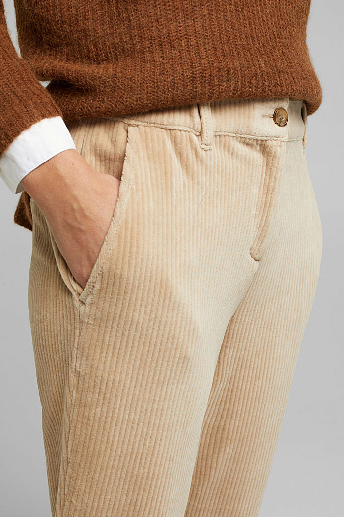 Corduroy trousers made from blended cotton, CREAM BEIGE, detail image number 2