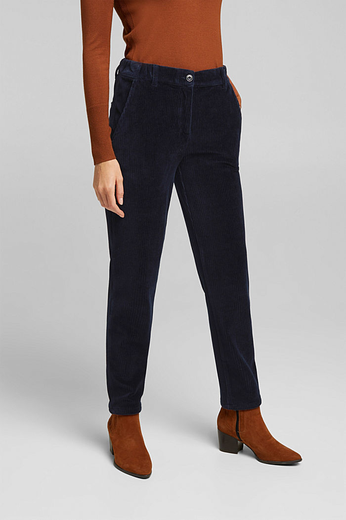 Corduroy trousers made from blended cotton, NAVY, detail image number 0