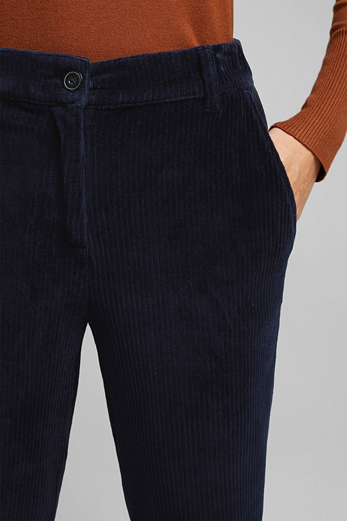 Corduroy trousers made from blended cotton, NAVY, detail image number 2