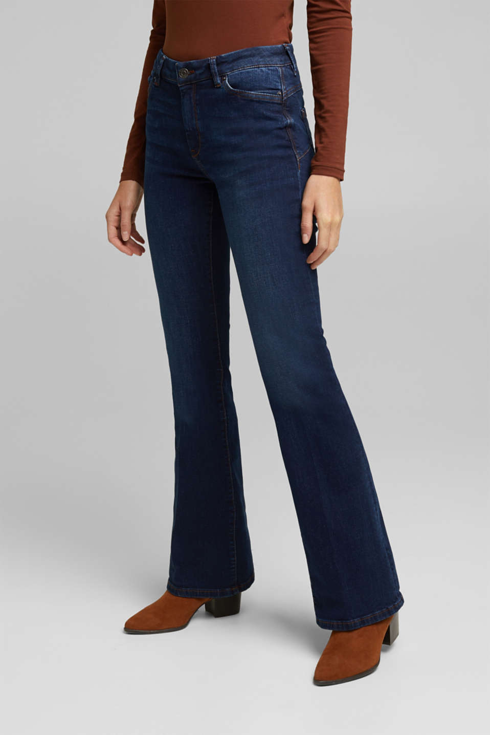 Esprit - Bootcut jeans made of organic cotton