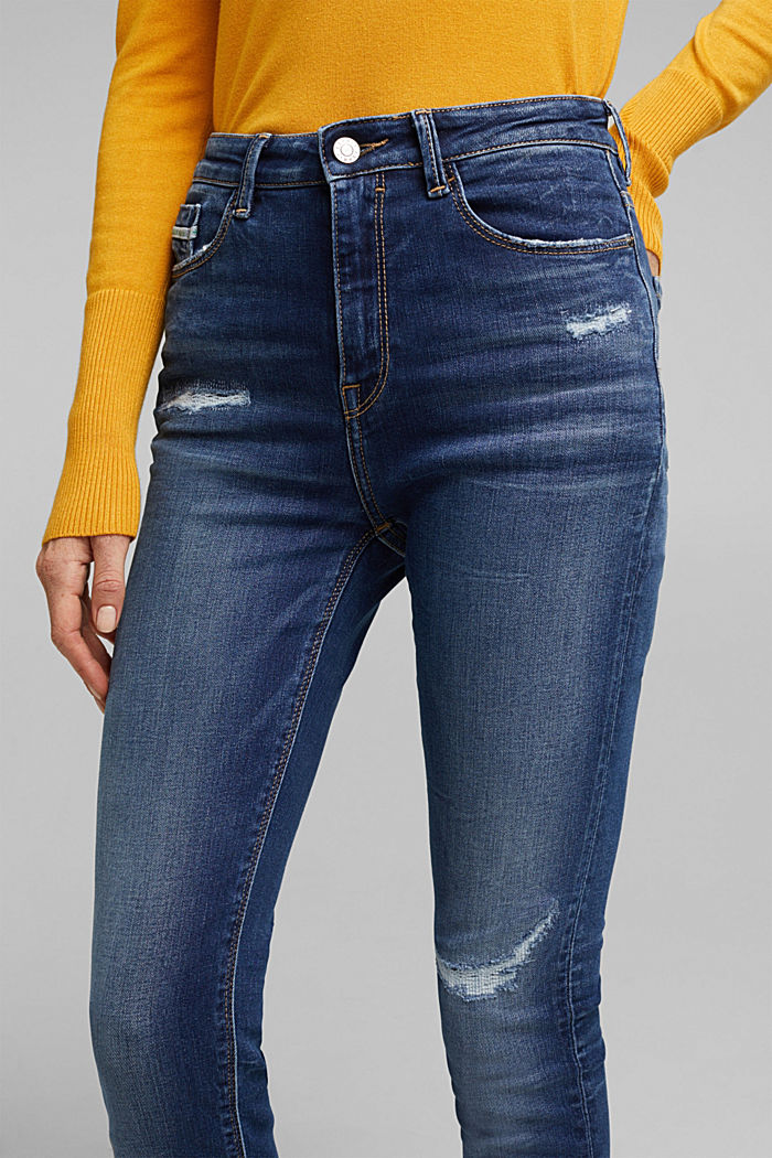 Skinny jeans with added stretch for comfort, BLUE DARK WASHED, detail image number 5