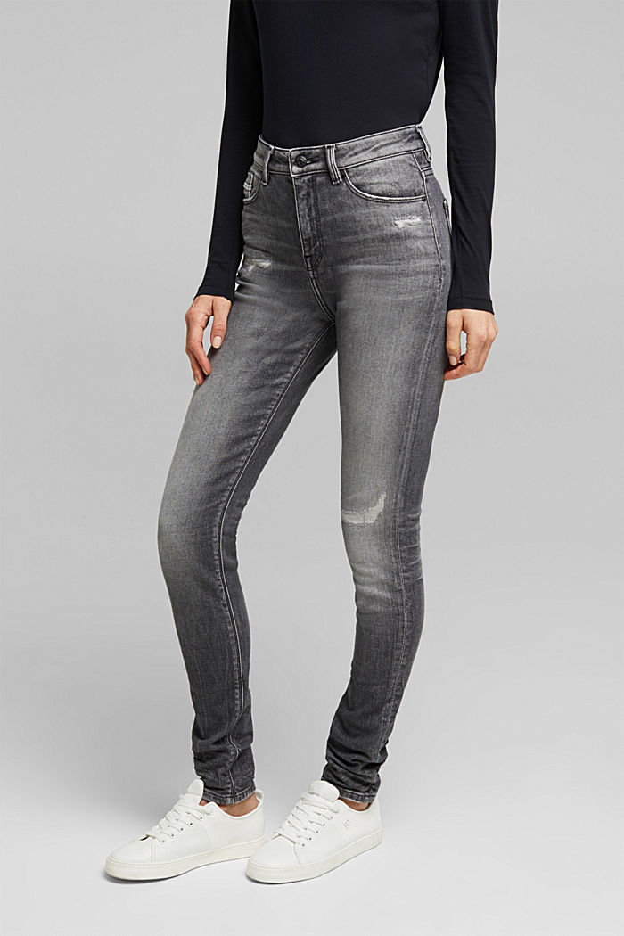 Skinny jeans with added stretch for comfort, GREY MEDIUM WASHED, detail image number 0