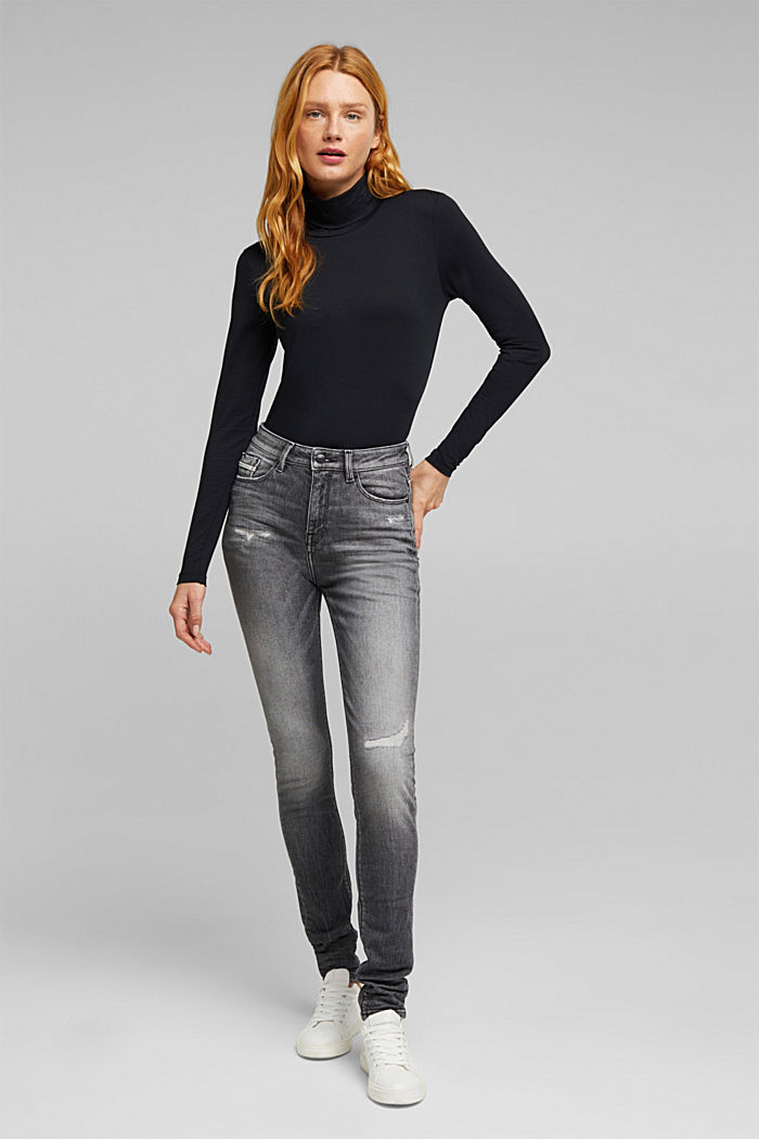 Skinny jeans with added stretch for comfort, GREY MEDIUM WASHED, detail image number 1