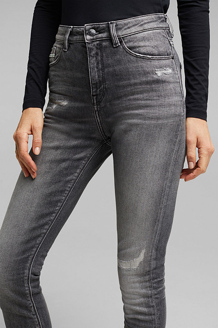 Skinny jeans with added stretch for comfort, GREY MEDIUM WASHED, detail image number 5