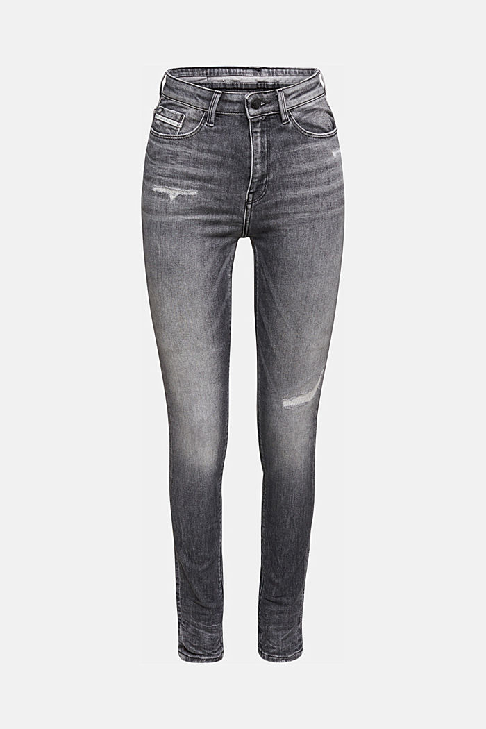 Skinny jeans with added stretch for comfort, GREY MEDIUM WASHED, detail image number 6