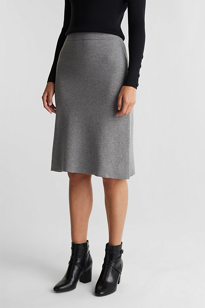 Knitted skirt with organic cotton and stretch, GUNMETAL, detail image number 0