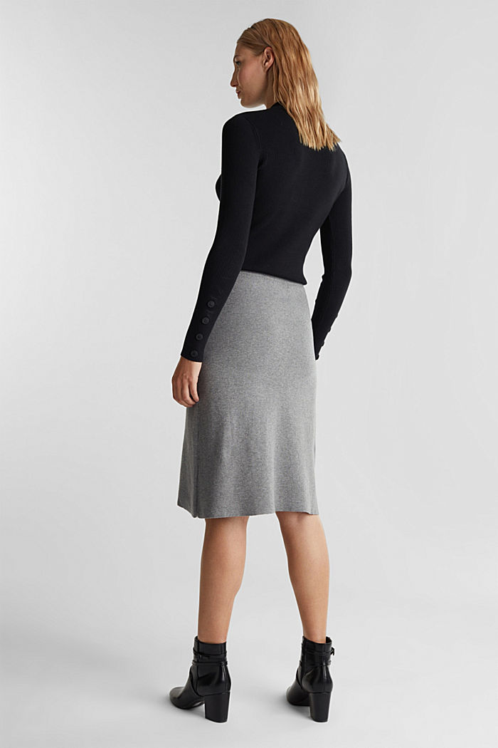 Knitted skirt with organic cotton and stretch, GUNMETAL, detail image number 2