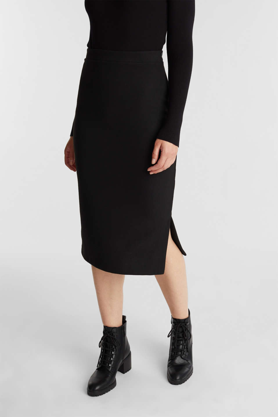 Esprit - Jersey pencil skirt in a wool look