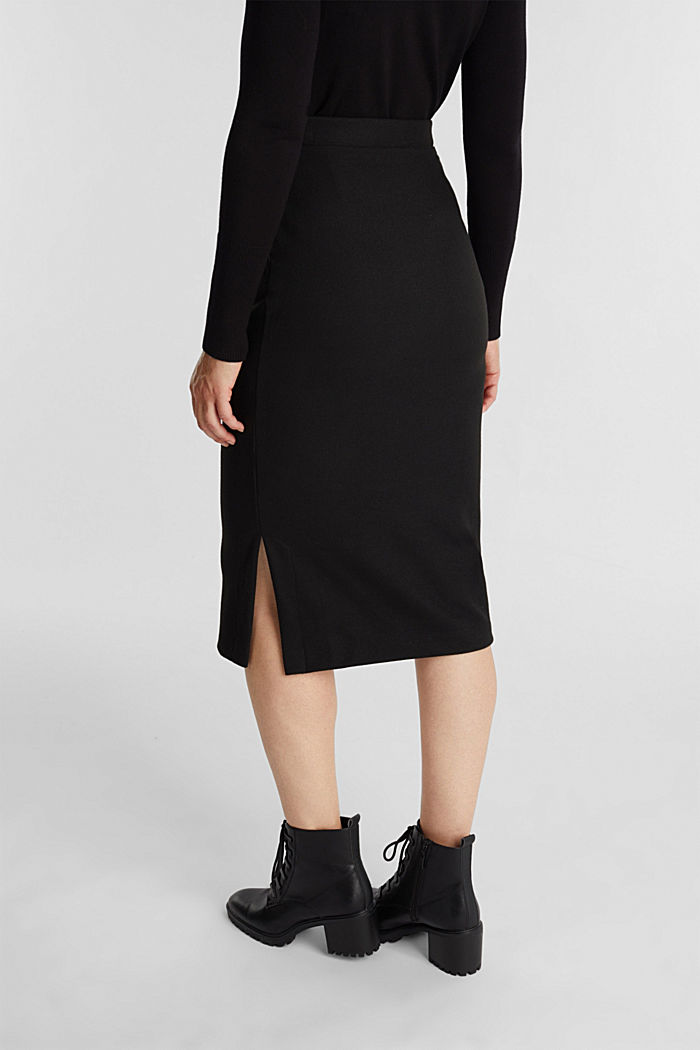 Jersey pencil skirt in a wool look, BLACK, detail image number 3