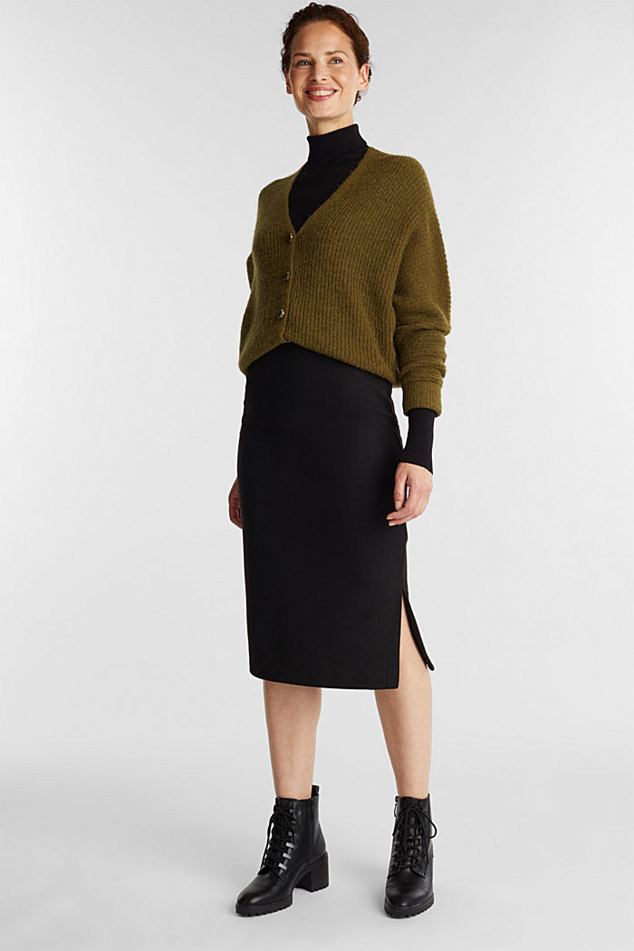Jersey pencil skirt in a wool look, BLACK, detail image number 1