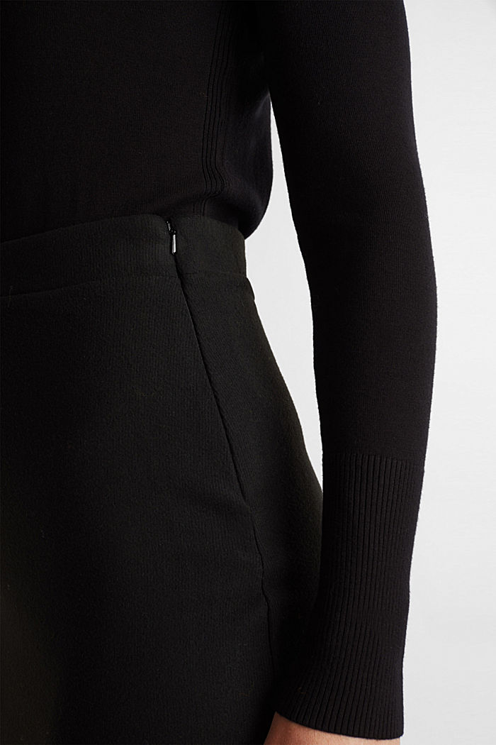 Jersey pencil skirt in a wool look, BLACK, detail image number 2