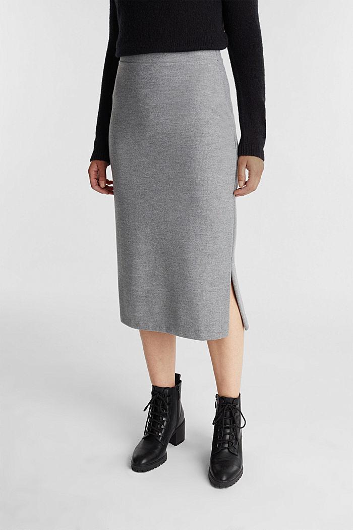 Jersey pencil skirt in a wool look, GUNMETAL, detail image number 0