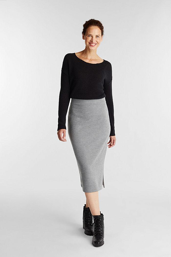 Jersey pencil skirt in a wool look, GUNMETAL, detail image number 1