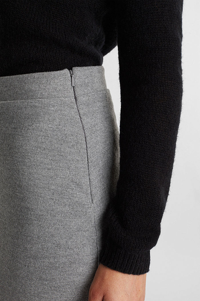 Jersey pencil skirt in a wool look, GUNMETAL, detail image number 2