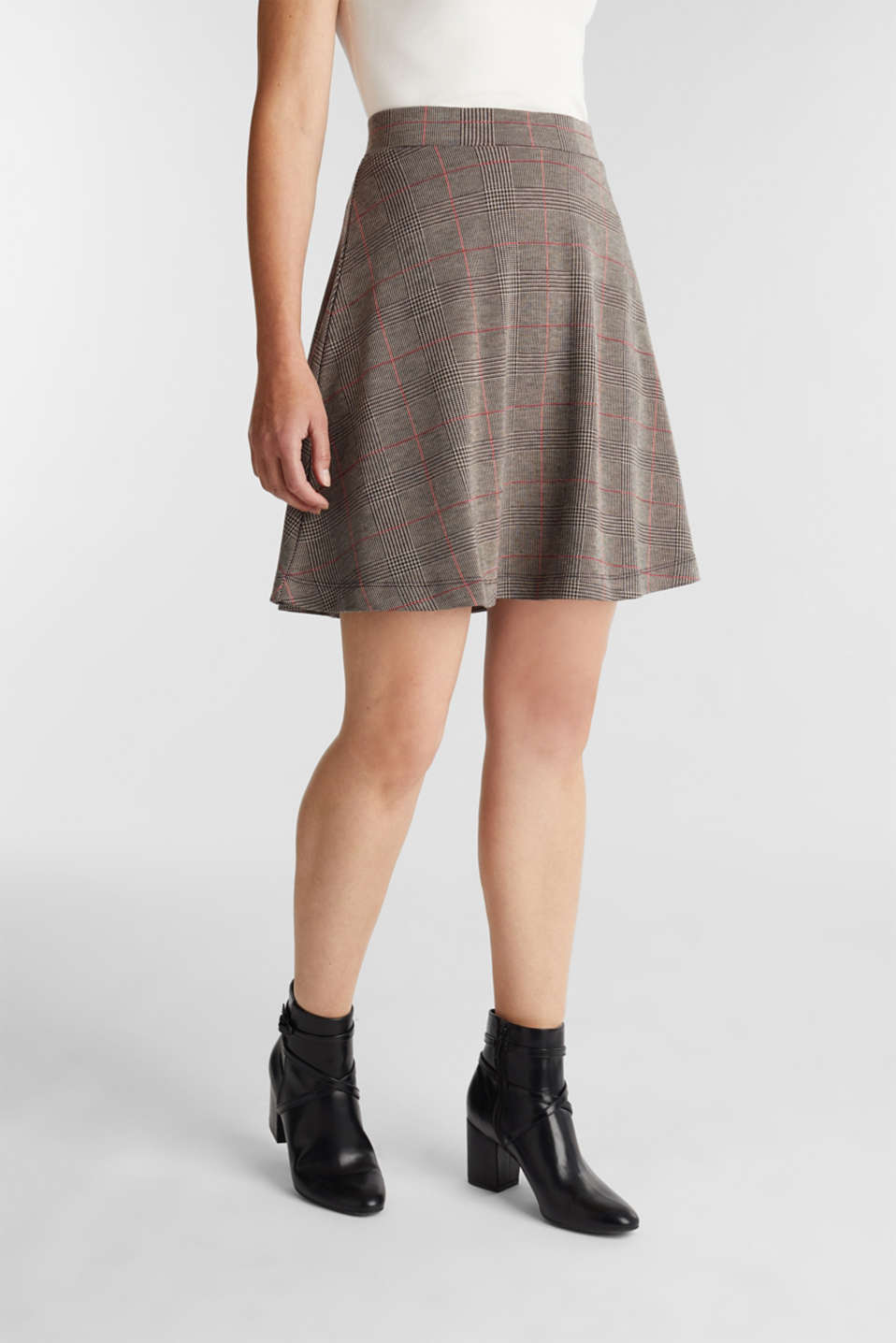 Esprit - Jersey skirt with a Prince of Wales check pattern