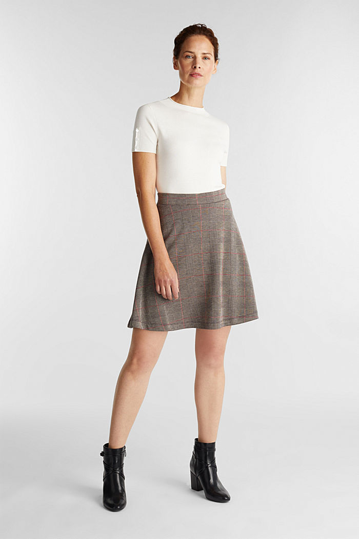Jersey skirt with a Prince of Wales check pattern, RED, detail image number 1